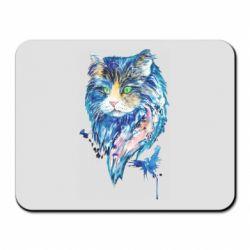 Коврик для мыши Cat in blue shades of watercolor