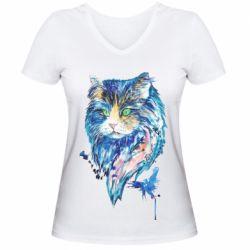 Женская футболка с V-образным вырезом Cat in blue shades of watercolor