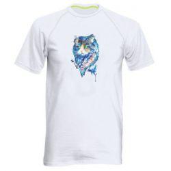 Мужская спортивная футболка Cat in blue shades of watercolor