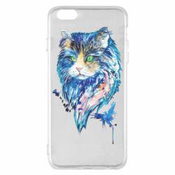 Чехол для iPhone 6 Plus/6S Plus Cat in blue shades of watercolor