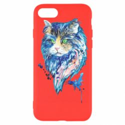Чехол для iPhone 7 Cat in blue shades of watercolor