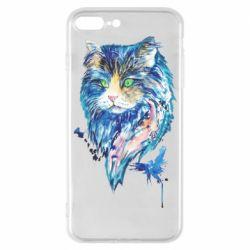 Чехол для iPhone 7 Plus Cat in blue shades of watercolor