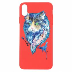 Чехол для iPhone X/Xs Cat in blue shades of watercolor