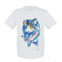Детская футболка Cat in blue shades of watercolor