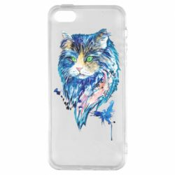 Чехол для iPhone5/5S/SE Cat in blue shades of watercolor