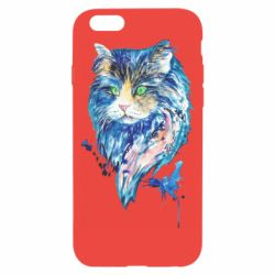 Чехол для iPhone 6/6S Cat in blue shades of watercolor