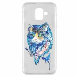 Чехол для Samsung A6 2018 Cat in blue shades of watercolor