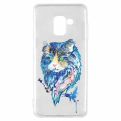 Чехол для Samsung A8 2018 Cat in blue shades of watercolor