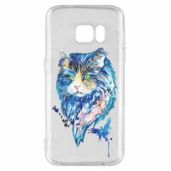 Чехол для Samsung S7 Cat in blue shades of watercolor