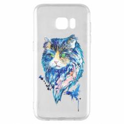 Чехол для Samsung S7 EDGE Cat in blue shades of watercolor