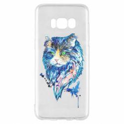 Чехол для Samsung S8 Cat in blue shades of watercolor