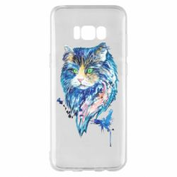 Чехол для Samsung S8+ Cat in blue shades of watercolor