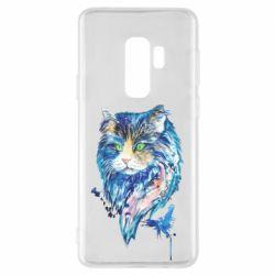 Чехол для Samsung S9+ Cat in blue shades of watercolor