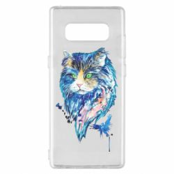 Чехол для Samsung Note 8 Cat in blue shades of watercolor