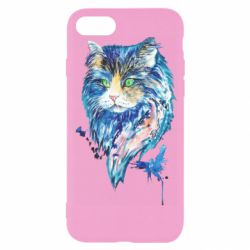 Чехол для iPhone 8 Cat in blue shades of watercolor