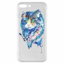 Чехол для iPhone 8 Plus Cat in blue shades of watercolor
