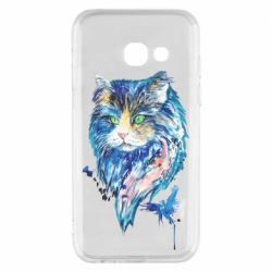 Чехол для Samsung A3 2017 Cat in blue shades of watercolor