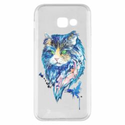 Чехол для Samsung A5 2017 Cat in blue shades of watercolor