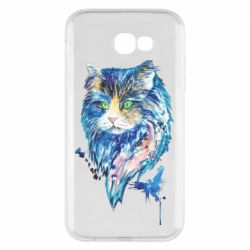 Чехол для Samsung A7 2017 Cat in blue shades of watercolor