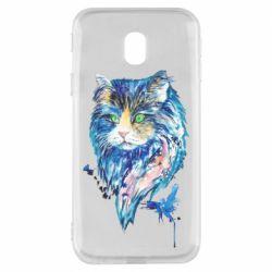 Чехол для Samsung J3 2017 Cat in blue shades of watercolor