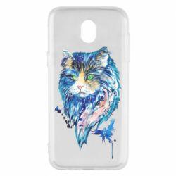 Чехол для Samsung J5 2017 Cat in blue shades of watercolor