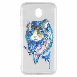 Чехол для Samsung J7 2017 Cat in blue shades of watercolor