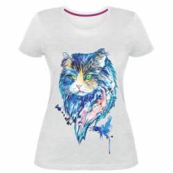 Женская стрейчевая футболка Cat in blue shades of watercolor