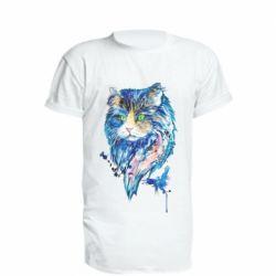 Удлиненная футболка Cat in blue shades of watercolor