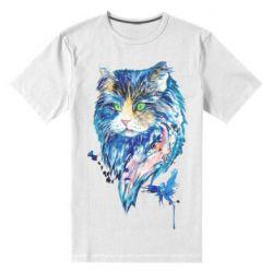 Мужская стрейчевая футболка Cat in blue shades of watercolor