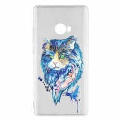 Чехол для Xiaomi Mi Note 2 Cat in blue shades of watercolor