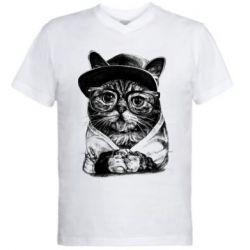 Купить Кот, Мужская футболка с V-образным вырезом Cat in glasses and a cap, FatLine