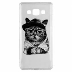 Чохол для Samsung A5 2015 Cat in glasses and a cap