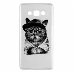 Чохол для Samsung A7 2015 Cat in glasses and a cap