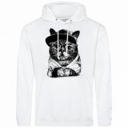 Чоловіча толстовка Cat in glasses and a cap