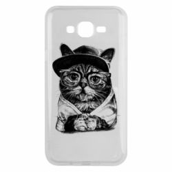 Чохол для Samsung J7 2015 Cat in glasses and a cap