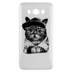 Чохол для Samsung J7 2016 Cat in glasses and a cap