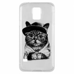 Чохол для Samsung S5 Cat in glasses and a cap