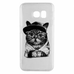 Чохол для Samsung S6 EDGE Cat in glasses and a cap