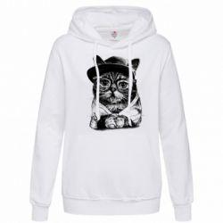 Толстовка жіноча Cat in glasses and a cap