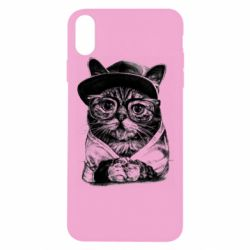 Чохол для iPhone Xs Max Cat in glasses and a cap