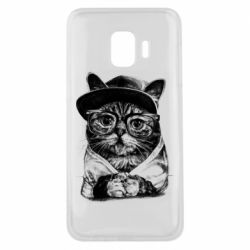 Чохол для Samsung J2 Core Cat in glasses and a cap