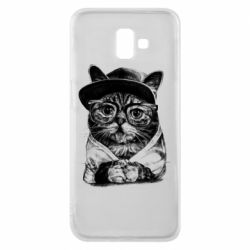 Чохол для Samsung J6 Plus 2018 Cat in glasses and a cap