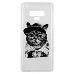 Чохол для Samsung Note 9 Cat in glasses and a cap