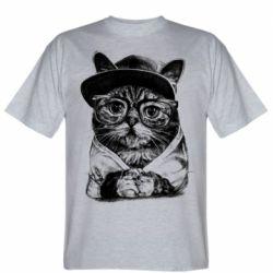 Чоловіча футболка Cat in glasses and a cap
