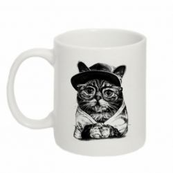 Кружка 320ml Cat in glasses and a cap