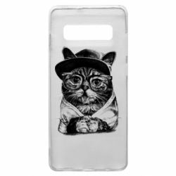 Чохол для Samsung S10+ Cat in glasses and a cap