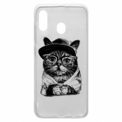 Чохол для Samsung A20 Cat in glasses and a cap
