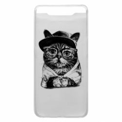 Чохол для Samsung A80 Cat in glasses and a cap