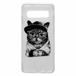 Чохол для Samsung S10 Cat in glasses and a cap