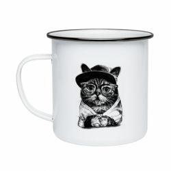 Кружка емальована Cat in glasses and a cap